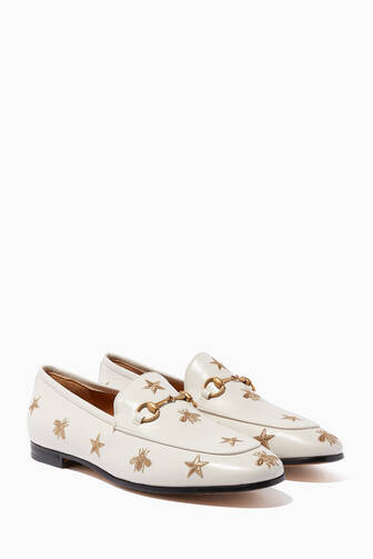 c1a05a34efe Gucci. Gucci Jordaan Embroidered Leather Loafers