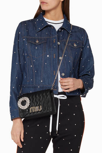 hover state of Black Small Crystal-Buckle Evening Bag
