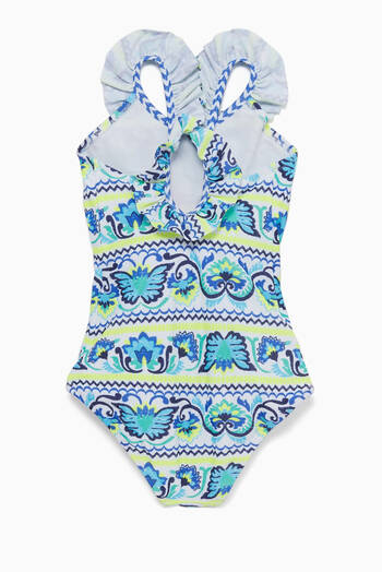 hover state of Blue Frill Scoop Swimsuit
