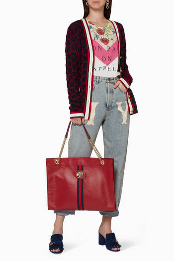 hover state of Red Rajah Leather Shoulder Bag
