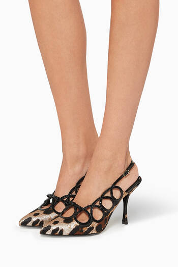 hover state of Lori Leo Jacquard Slingback Sandals