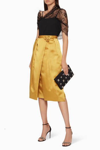 hover state of Rose Detail Pleated Midi Skirt