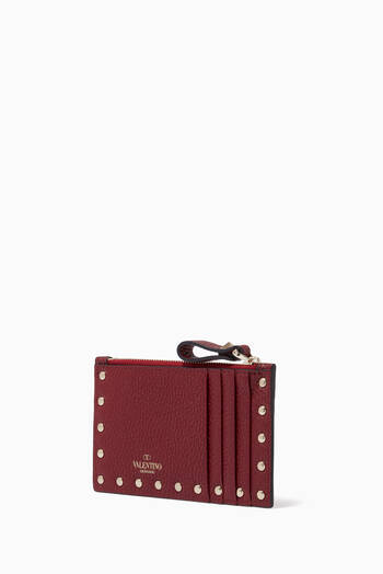 hover state of Valentino Garavani Rockstud Cardholder in Leather