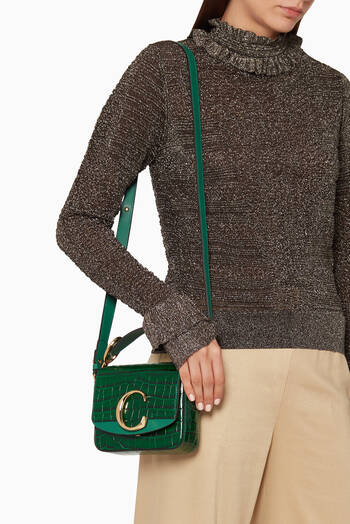 hover state of Mini Chloé C Crocodile-Embossed Leather Bag