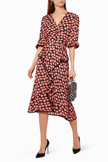 hover state of Hotel Beau Frill Midi Dress