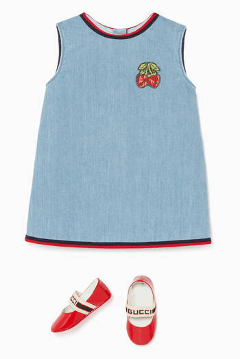 hover state of Embroidered Sleeveless Denim Dress