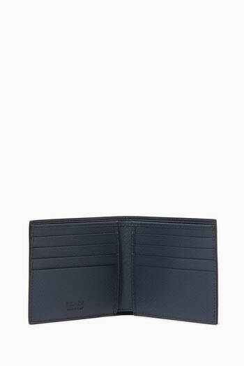hover state of Metal Logo Wallet in Saffiano Leather