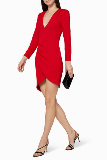 hover state of Asymmetric Wrap Mini Dress