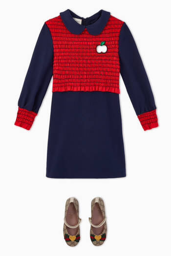 hover state of GG Apple Smocked Jersey Dress