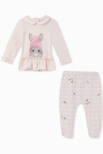 hover state of Bunny & Flower Knit Print Jersey Set