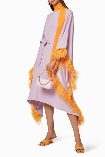 hover state of Casta Diva Feather-Trimmed Crepe Dress