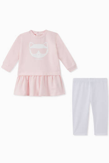 hover state of Choupette Cotton Dress & Leggings Set