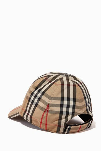 hover state of Baseball Cap in Vintage Check & Icon Stripe Cotton