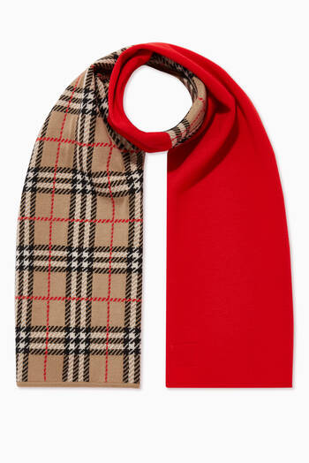hover state of Colour-Block Vintage Check Merino Wool Scarf