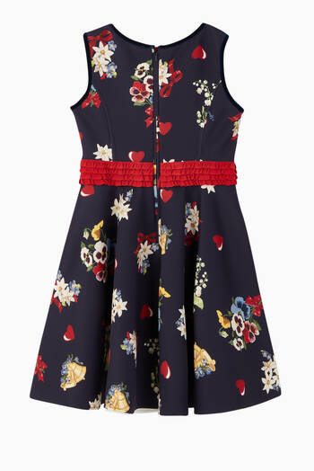 hover state of Floral Hearts Print Dress