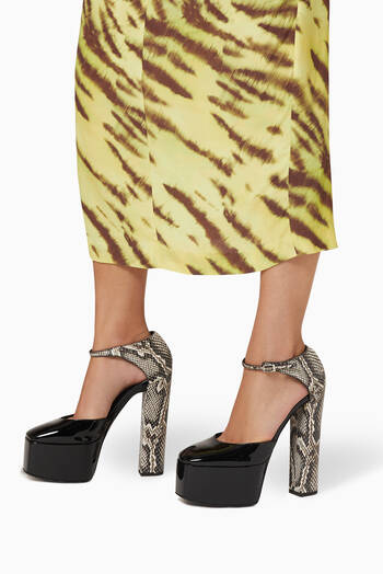 hover state of Bebe Platform Sandals in Patent Leather