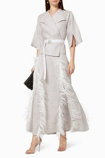 hover state of Feather Belted Linen Skirt Suit
