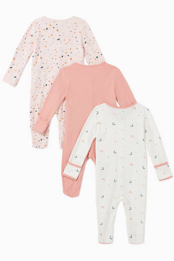 hover state of Geo Cotton Sleepsuit, Set of 3