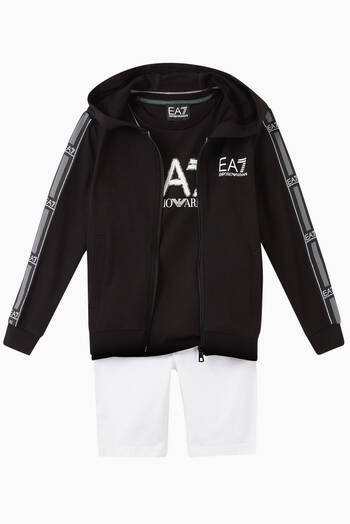 hover state of EA7 Logo Tape Hooded Sweatshirt