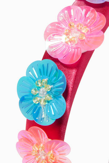 hover state of Hairband with Floral Appliqué