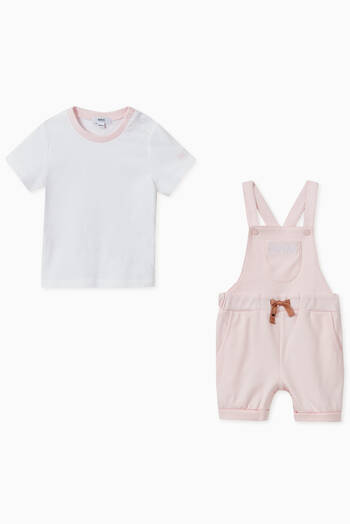 hover state of T-Shirt & Dungarees Set in Cotton Jersey