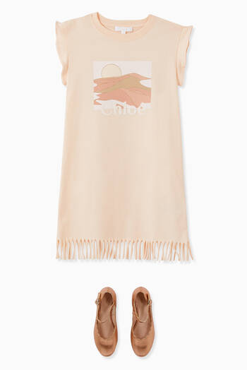 hover state of Dune Print Logo Fringed Cotton Dress