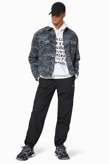 hover state of Large Fit Jacket in Washed Camo Overprinted Denim