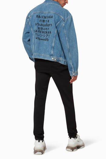 hover state of Languages Large Fit Jacket in Organic Japanese Denim