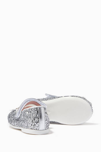 hover state of Teddy Bear Ballet Flats in Glitter