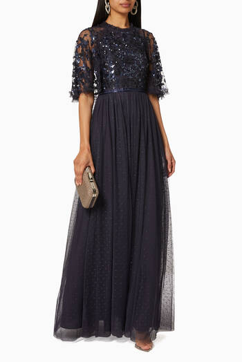 hover state of Floral Embellished Cape Sleeves Maxi Dress