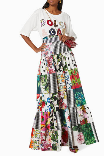 hover state of Maxi Skirt in Patchwork Cotton Poplin