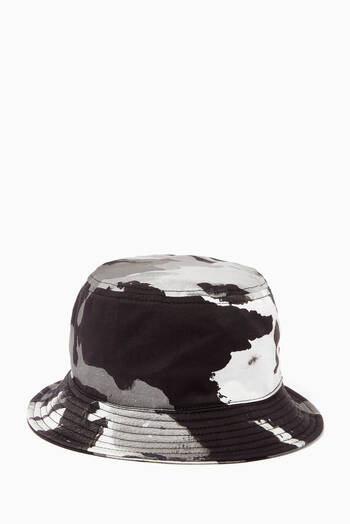 hover state of Camouflage Bucket Hat with Patch in Cotton Twill