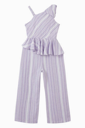 hover state of Flounce Asymmetrical Linen-blend Jumpsuit