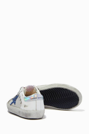 hover state of Super-Star Sneakers with Glitter Star in Net Fabric and Leather