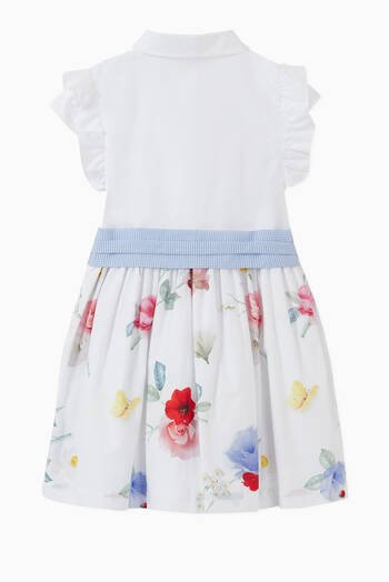 hover state of Floral Bow Cotton Shirt Dress