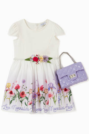 hover state of Floral Tulle Dress with Belt