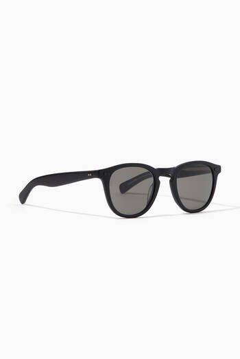 hover state of Hampton 46 Acetate Round-Frame Sunglasses