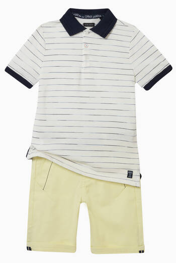 hover state of Polo Shirt with Stripes in Cotton