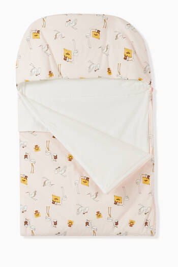 hover state of Stork Print Sleeping Bag in Cotton Jersey