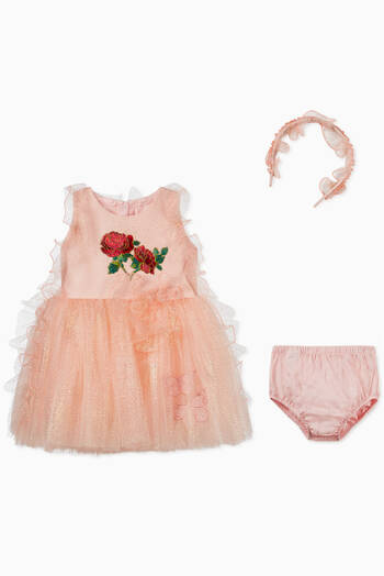 hover state of Rose Embroidery Ruffles Dress
