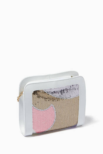 hover state of Paillettes Print Crossbody Bag in Leather