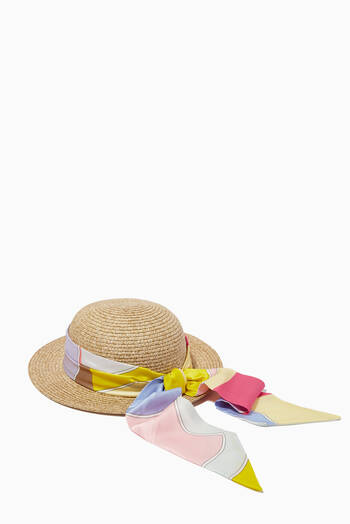 hover state of Sun Hat with Printed Scarf in Paper & Silk Blend
