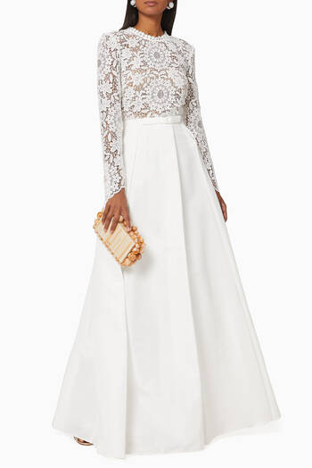 hover state of Guipure Lace and Taffeta Maxi Dress