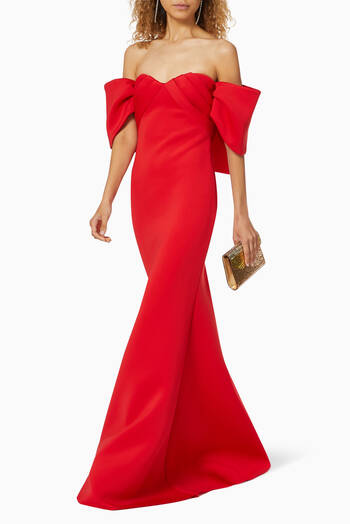hover state of Scuba Crepe Trumpet Gown