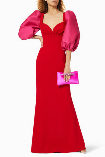 hover state of Odessa Balloon Sleeve Gown