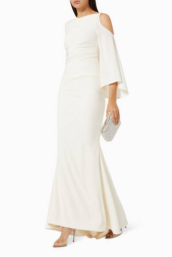 hover state of Cold Shoulder Draped Gown in Crepe