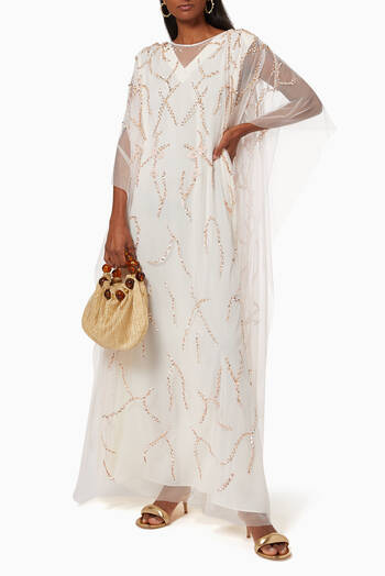 hover state of Floral Embroidered Kaftan in Tulle