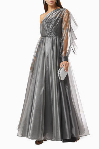 hover state of Draped Ruffle Dress in Satin & Tulle