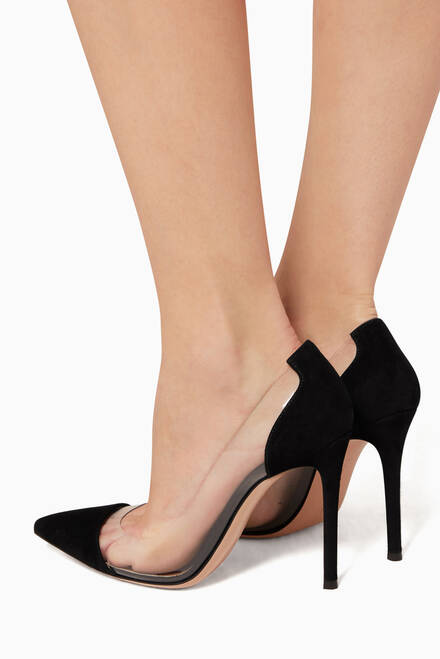 hover state of Black Suede Plexi Pumps