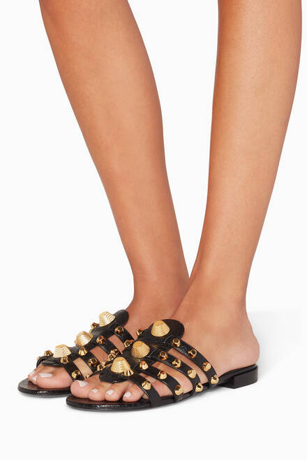 hover state of Black Arena Giant Studded Flat Sandals